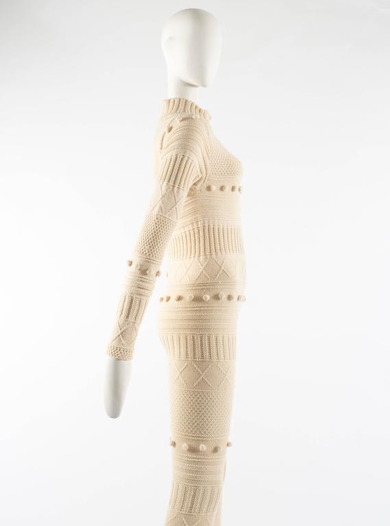 Courreges Autumn-Winter 1994 cream aran knit wool jumpsuit 7