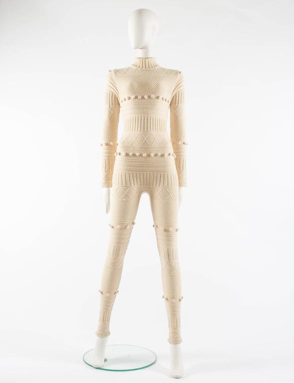 Courreges Autumn-Winter 1994 cream aran knit wool jumpsuit 3