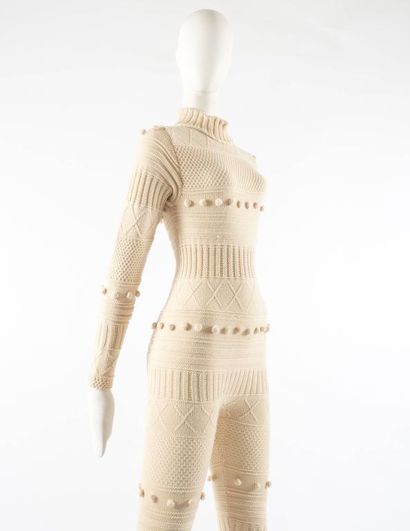 Courreges Autumn-Winter 1994 cream aran knit wool jumpsuit 4