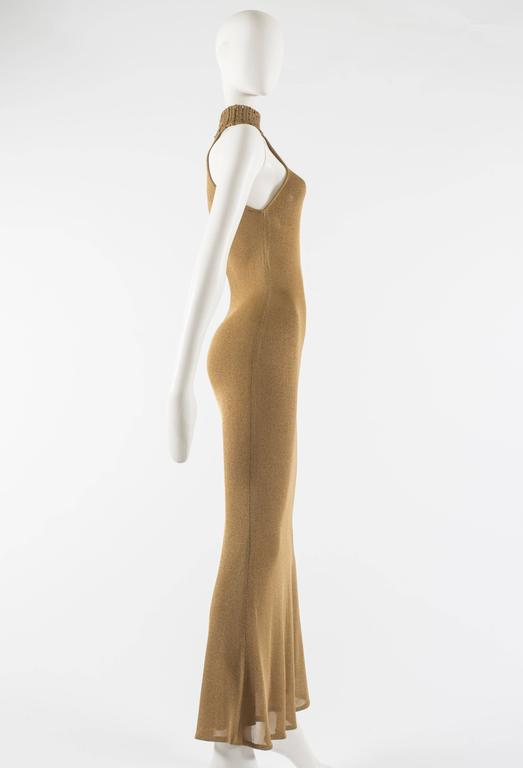 Gianni Versace 1997 gold knitted evening dress 5