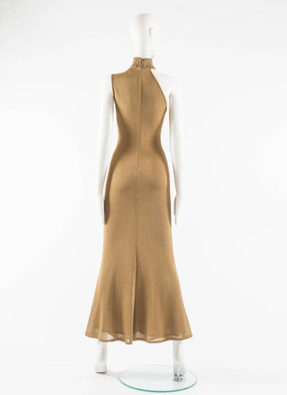 Gianni Versace 1997 gold knitted evening dress 6