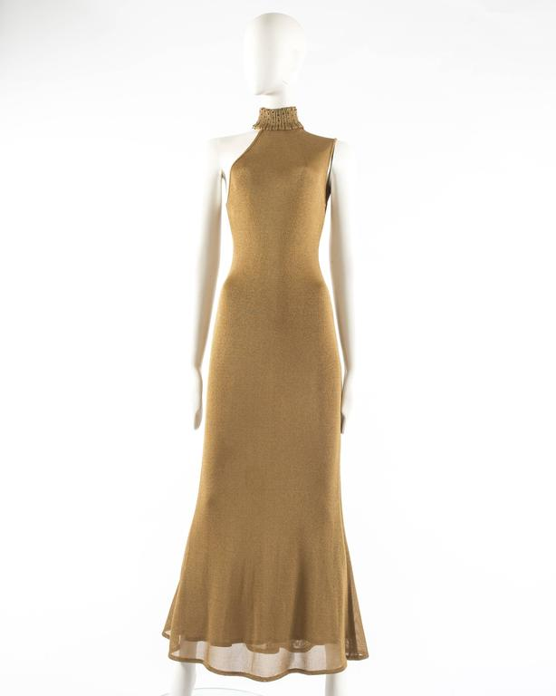 Gianni Versace 1997 gold knitted evening dress 2