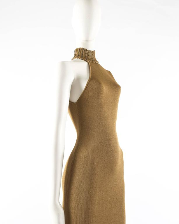 Gianni Versace 1997 gold knitted evening dress 3