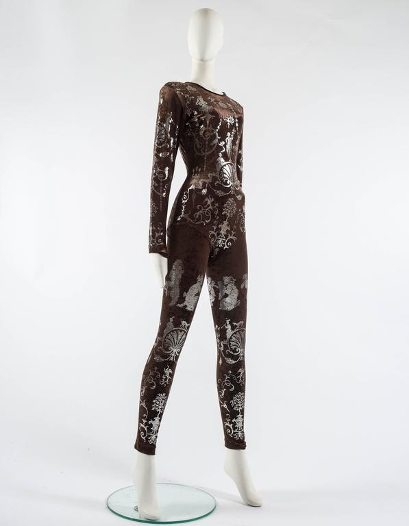 Black Vivienne Westwood Autumn-Winter 1990 brown screen printed silver jumpsuit For Sale