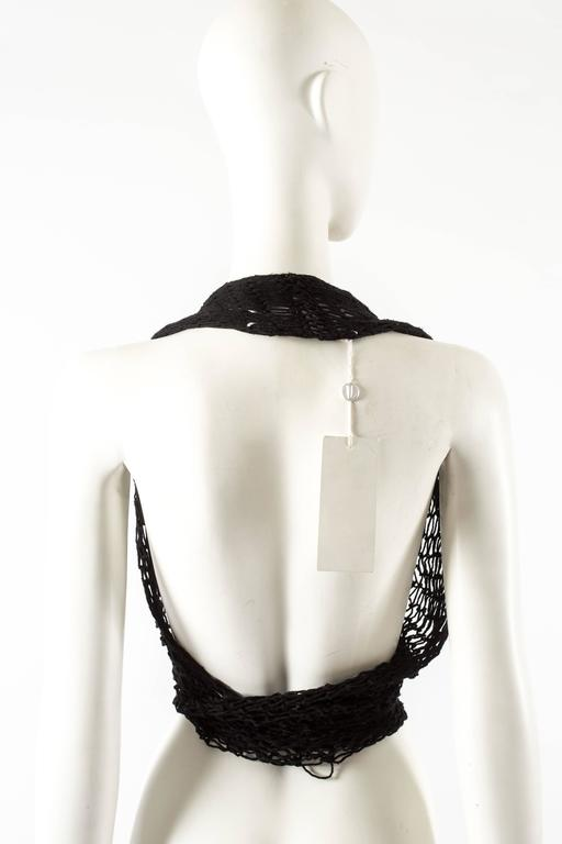 Maison Martin Margiela Spring-Summer 1993 black string net halter neck vest For Sale 2