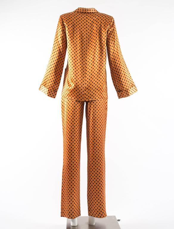 Yves Saint Laurent 1971 orange polkadot silk pyjama pant suit 4