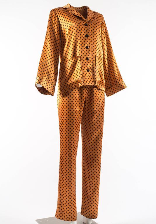 Yves Saint Laurent 1971 orange polkadot silk pyjama pant suit 3