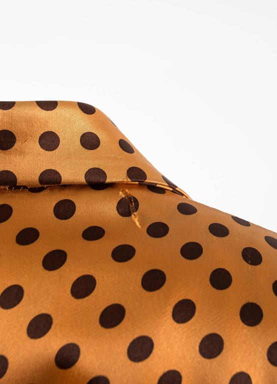Yves Saint Laurent 1971 orange polkadot silk pyjama pant suit 6