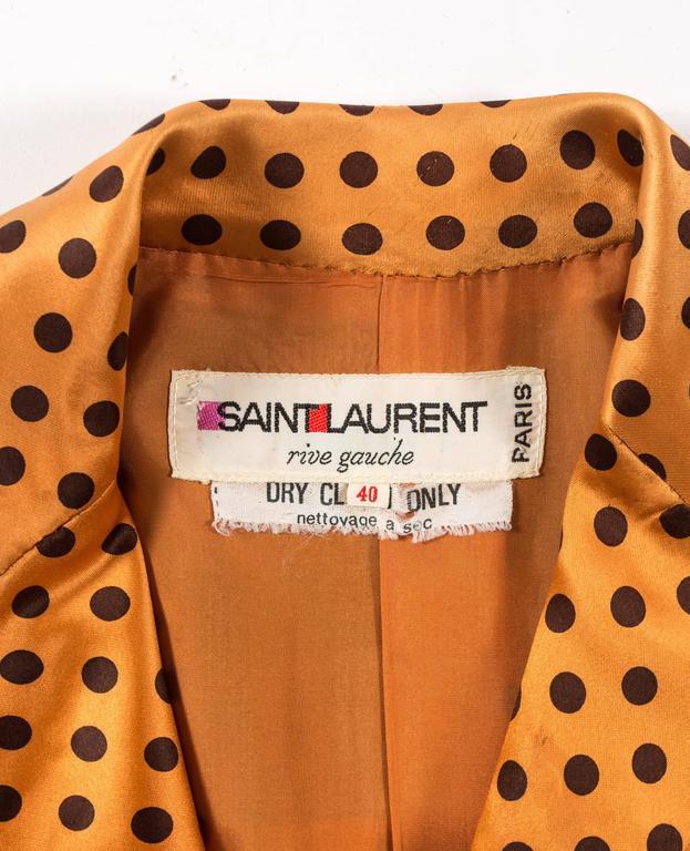 Yves Saint Laurent 1971 orange polkadot silk pyjama pant suit 5