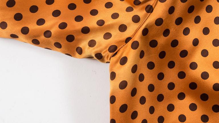 Yves Saint Laurent 1971 orange polkadot silk pyjama pant suit 8