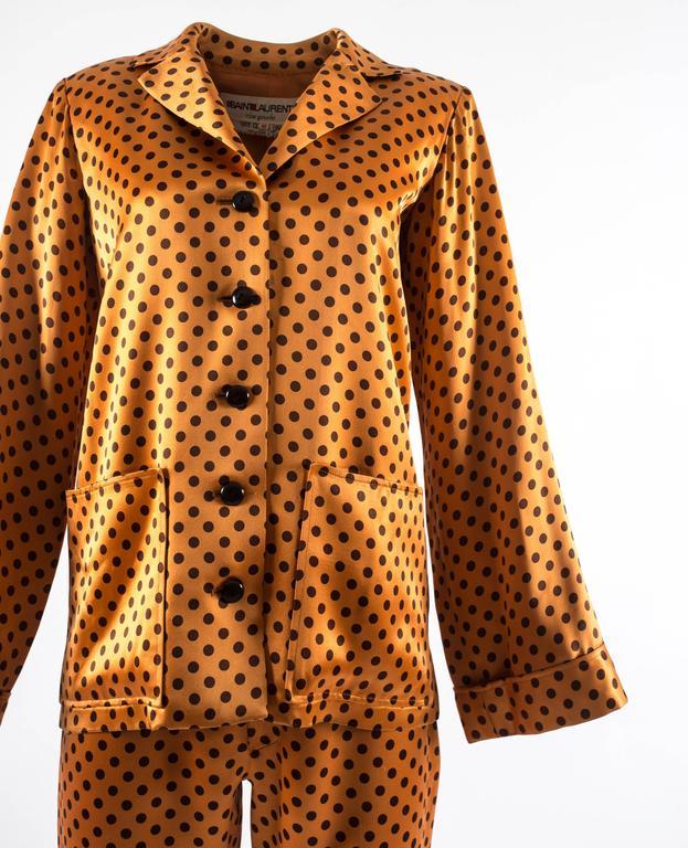 Yves Saint Laurent 1971 orange polkadot silk pyjama pant suit 2