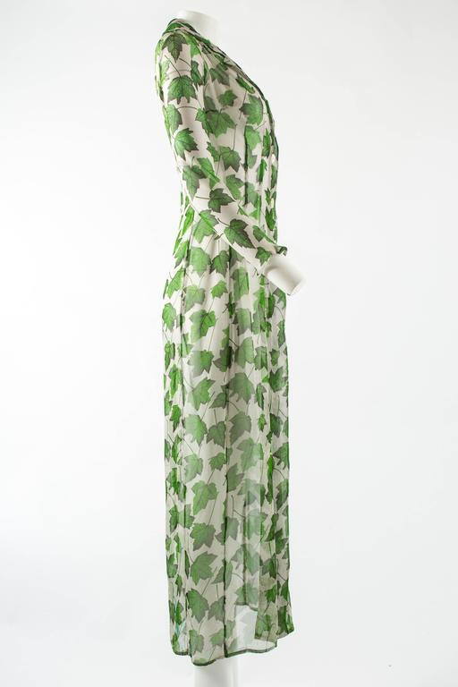 Women's Dolce & Gabbana Spring-Summer 1997 chiffon dress with foliage print For Sale