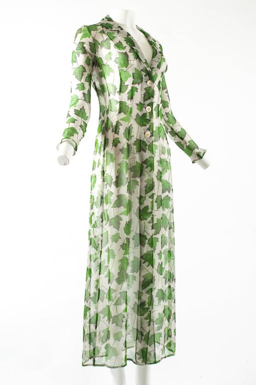 Dolce & Gabbana Spring-Summer 1997 chiffon dress with foliage print In Excellent Condition For Sale In London, GB