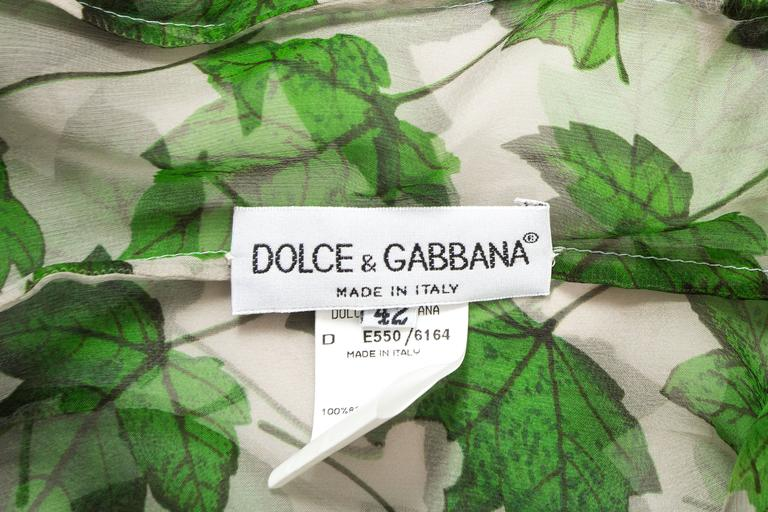 Dolce & Gabbana Spring-Summer 1997 chiffon dress with foliage print For Sale 2