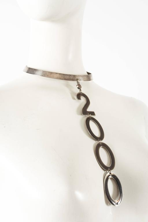 Women's or Men's Paco Rabanne 2000s silver metal choker necklace For Sale