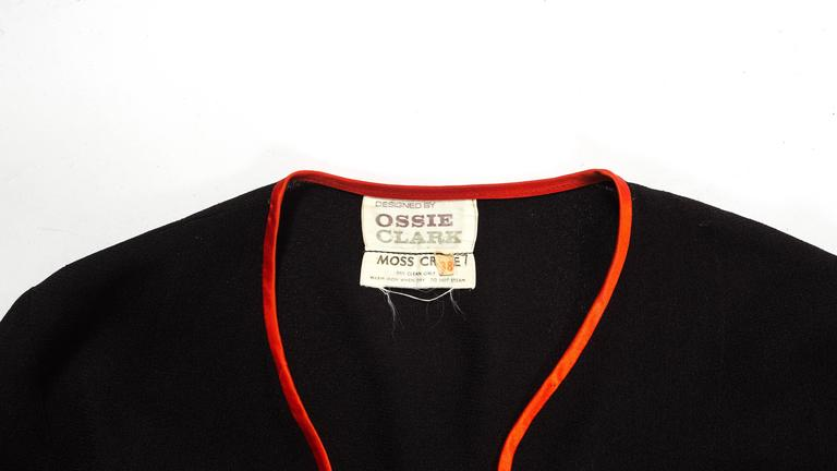 Women's Ossie Clark 1970 black moss crepe 'Judy' pant suit with red satin trim For Sale