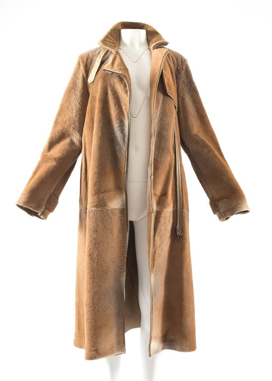 Brown Tom Ford for Yves Saint Laurent 2002 oversized sheared fur patchwork coat  For Sale