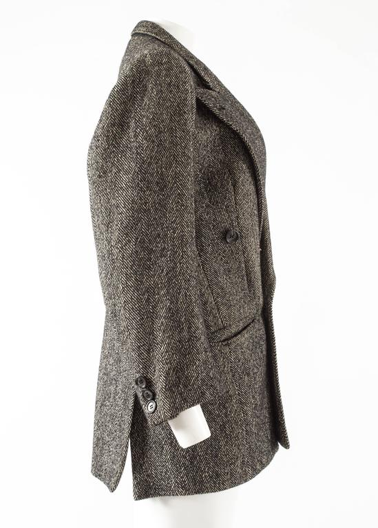 Maison Martin Margiela 1990s herringbone tweed double breasted jacket In Excellent Condition For Sale In London, GB