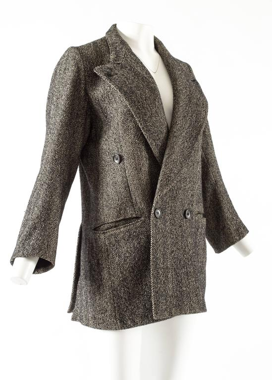 Maison Martin Margiela 1990s herringbone tweed oversized double breasted jacket