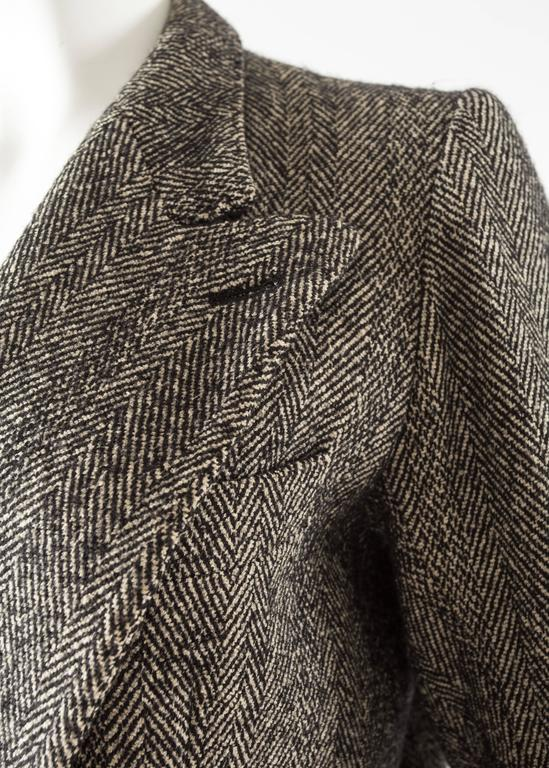 Black Maison Martin Margiela 1990s herringbone tweed double breasted jacket For Sale