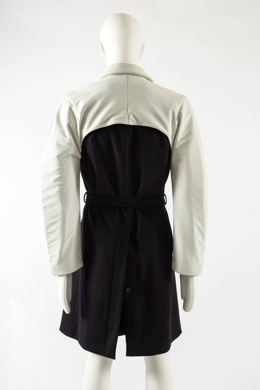 Raf Simons Autumn-Winter 2009 black wool coat with neoprene sleeves 7