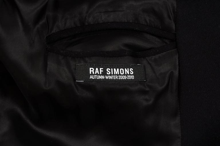 Raf Simons Autumn-Winter 2009 black wool coat with neoprene sleeves 8
