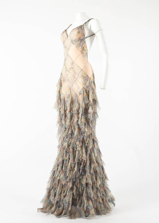 Women's Alexander McQueen Spring-Summer 2004 'Deliverance' silk chiffon evening gown For Sale