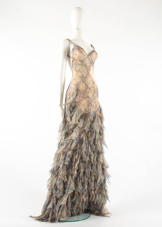Alexander McQueen Spring-Summer 2004 'Deliverance' silk chiffon evening gown In Excellent Condition For Sale In London, GB