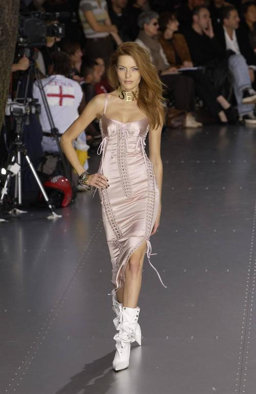 Dolce & Gabbana Spring-Summer 2003 pink silk and leather lace up evening dress 4