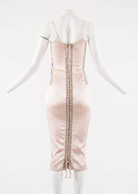 Dolce & Gabbana Spring-Summer 2003 pink silk and leather lace up evening dress 9