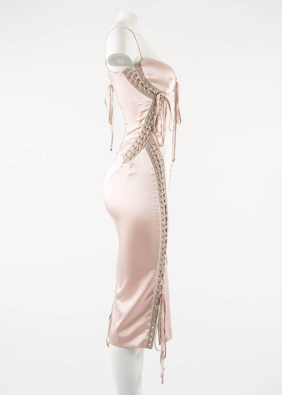 Dolce & Gabbana Spring-Summer 2003 pink silk and leather lace up evening dress 7