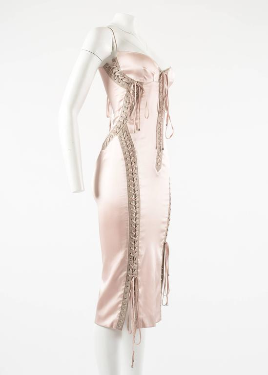 Dolce & Gabbana Spring-Summer 2003 pink silk and leather lace up evening dress 5