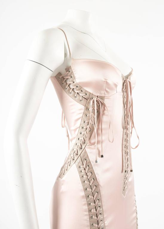 Dolce & Gabbana Spring-Summer 2003 pink silk and leather lace up evening dress 3
