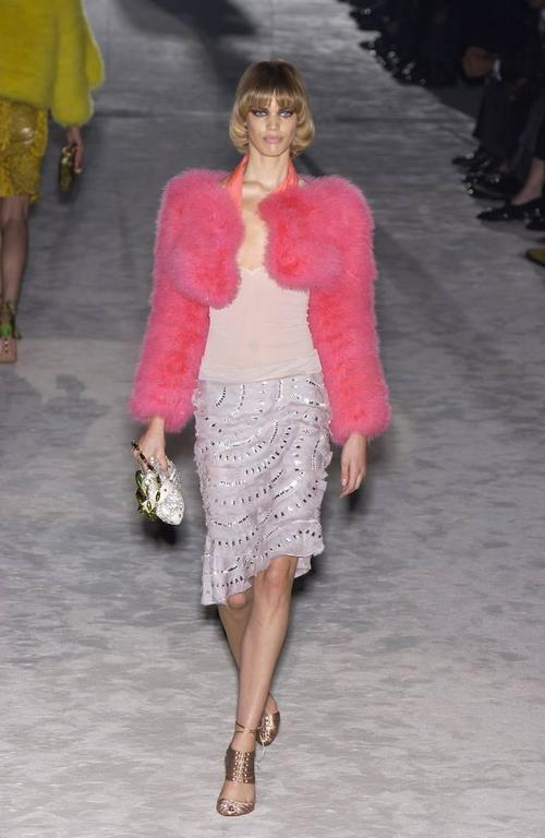 Tom Ford for Gucci Spring-Summer 2004 hot pink marabou bolero jacket  2