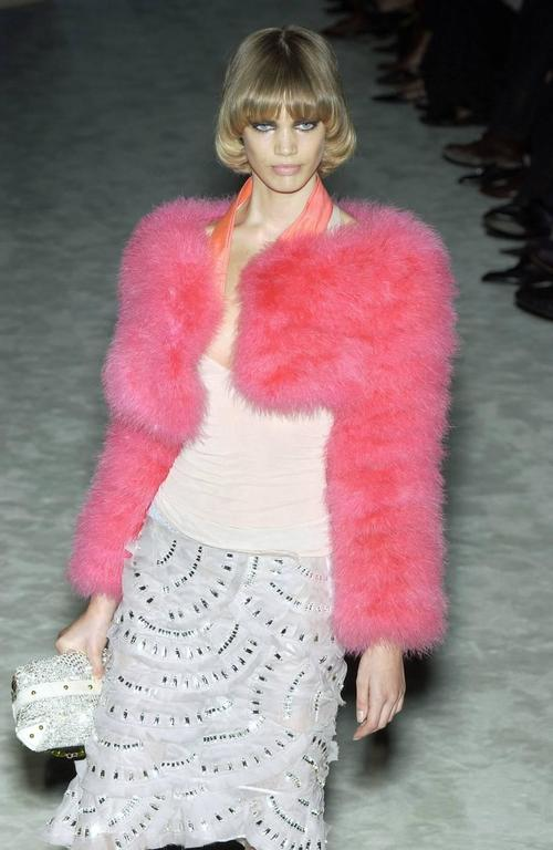 Tom Ford for Gucci Spring-Summer 2004 hot pink marabou bolero jacket  3