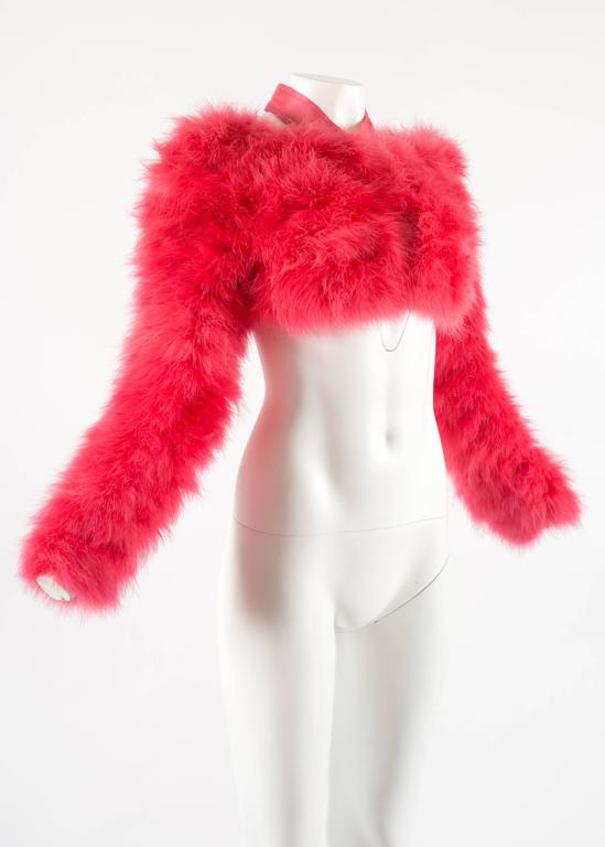Tom Ford for Gucci Spring-Summer 2004 hot pink marabou bolero jacket  4
