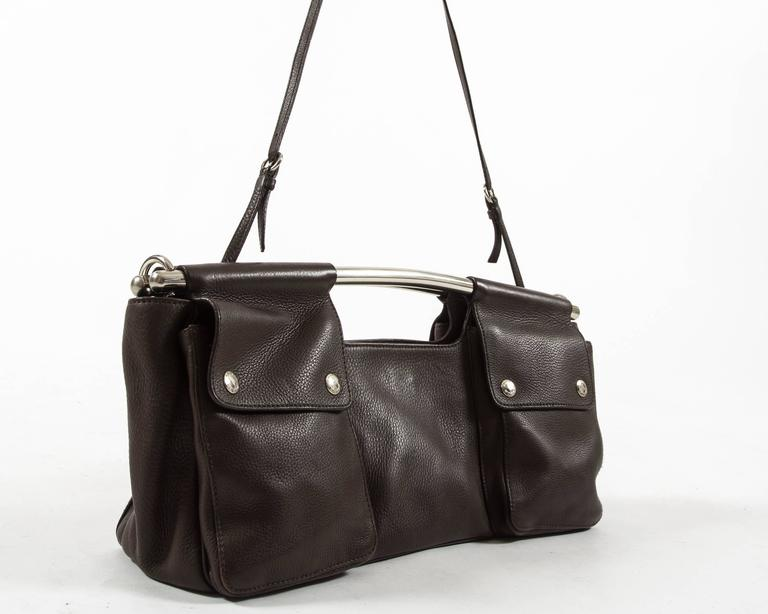 Prada Spring-Summer 2003 brown leather metal bar bag 4