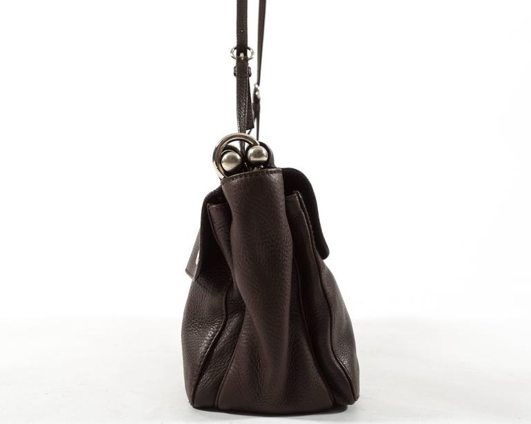 Prada Spring-Summer 2003 brown leather metal bar bag 5