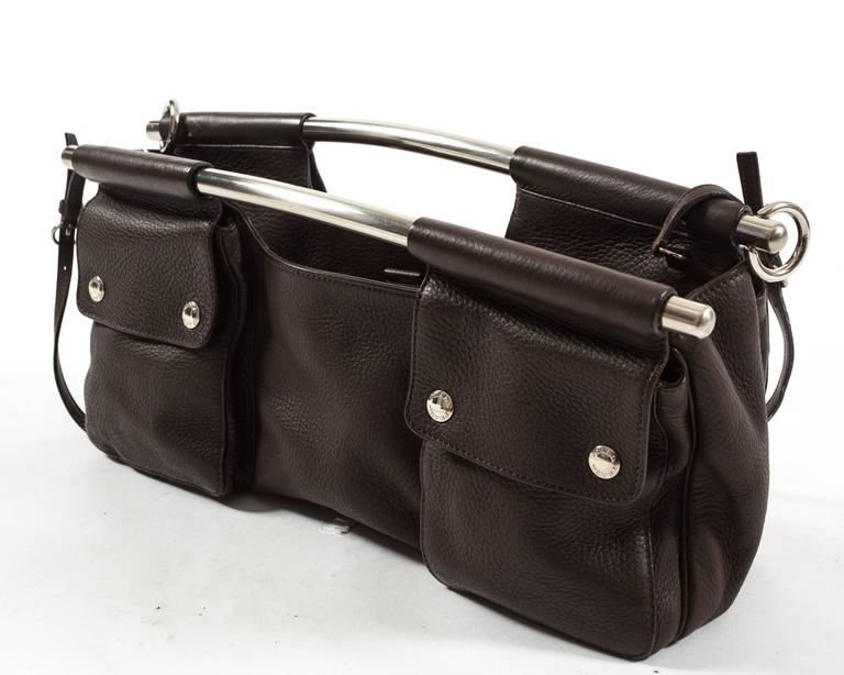 Prada Spring-Summer 2003 brown leather metal bar bag 6