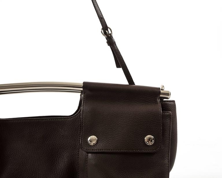 Prada Spring-Summer 2003 brown leather metal bar bag 8