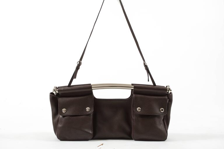 Prada Spring-Summer 2003 brown leather metal bar bag 7