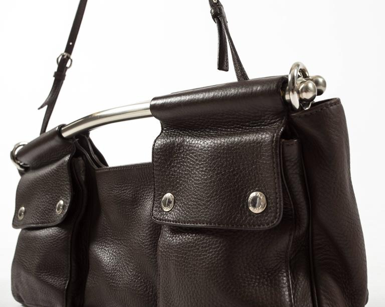 Prada Spring-Summer 2003 brown leather metal bar bag 3