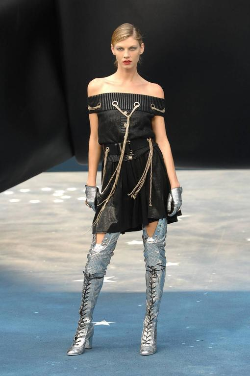 Chanel Spring-Summer 2008 thigh high metallic silver boots  - laser cut leather  - rounded cap-toes - chunky heel - black cord lace-up ties  - inner concealed zip closure