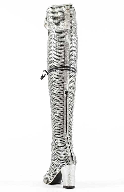 Chanel Spring-Summer 2008 metallic silver thigh high laser cut leather boots For Sale 1