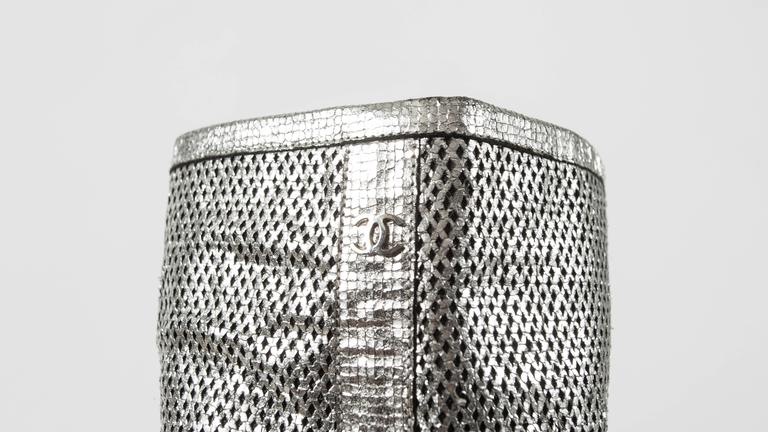Chanel Spring-Summer 2008 metallic silver thigh high laser cut leather boots For Sale 2