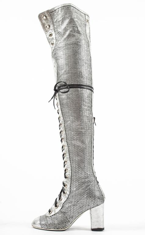 Chanel Spring-Summer 2008 metallic silver thigh high laser ...
