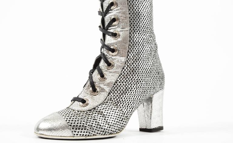 Women's Chanel Spring-Summer 2008 metallic silver thigh high laser cut leather boots For Sale
