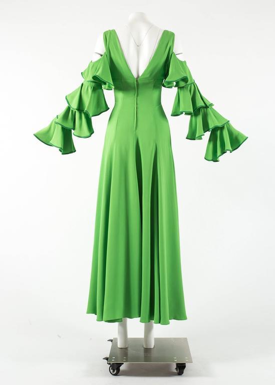 1970s British moss crepe green cold shoulder evening dress For Sale ...