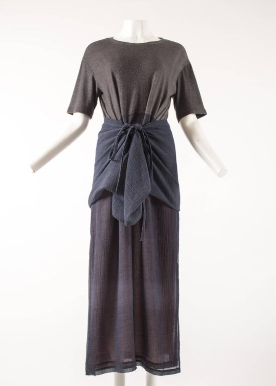 Issey Miyake 1990s layered shirt dress with attached cardigan  3
