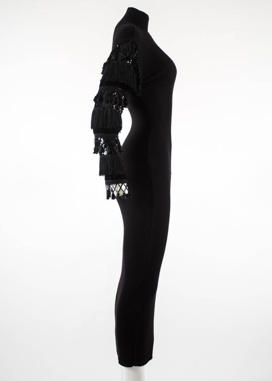 Women's Jean Paul Gaultier Autumn-Winter 1985 black rib knit evening dress  For Sale